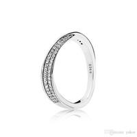 elegante de onda de la CZ del diamante del sistema del anillo original de la caja de Pandora de 925 Fahion anillos de boda de las mujeres de plata de ley de lujo