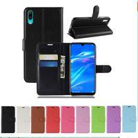 Litchi Muster Flip Magnetic Wallet Flip PU Leder Stand Fall für Huawei Genießen Sie 9 Y7 Prime 2019 Y7 Pro 2019 Litschi Kornabdeckung