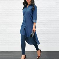 Designer Womens Solid Shirt Fashion Unregelmäßige Womens Blue Long Shirt Revers Neck Langarm Freizeitkleidung
