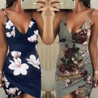 패션 브랜드 최신 여성 여름 Bodycon Boho 짧은 미니 드레스 Clubwear 파티 섹시한 꽃 드레스 등이없는 스키니 슬림 드레스