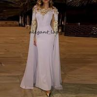 ABRIZ Dubai Abendkleider mit Wrap Gold Appliques Perlen Lavendel Celebrity Kleid Bodenlangen Sonderanlässe Prom Kleider