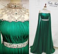 Aso Ebi 2019 Crystals Árabe Hunter Verde Luxurious Evening Dresses frisados Prom Vestidos Chiffon Sexy formal Vestidos Recepção OSEGUNDO