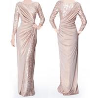 Жемчужно-розовые с длинными рукавами платья для невесты на заказ для свадебных украшений шеи Элегантная длина пола плиссированные вечерние платья