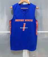 Дешевая оптовая Бойсе Стейт Броскос # 1 MENS БАСКЕТБОЛ GAME JERSEY СИНЕЙ футболка жилет прошитых баскетбольного NCAA