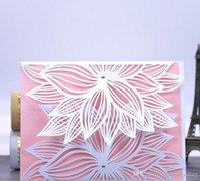레이저 컷 초대장 꽃이있는 40 색상의 결혼식 초대 카드 맞춤형 결혼식 초대장 # BW-I0501