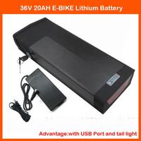 1000 W 36 V 20AH Ebike Arka Raf Pil Arka Taşıyıcı Pil 30A BMS ile ve 42 V 2A Şarj Ile USB Portu ve Kuyruk ışık