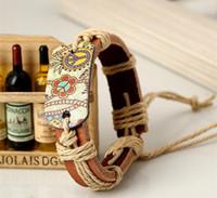 Bracelet en cuir JRL 12pcs / lot corde cuir paix tissage bracelet de style chinois croix bracelets religieux pour les femmes des hommes K2578