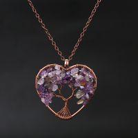 Amatista Link Cadena Collar 7 Chakra Árbol de la vida Forma de corazón Collar Colgante Piedra Natural Cristal Aventurine Turquesa Charm Joyería