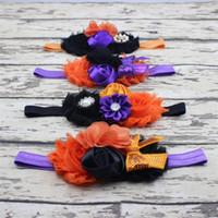 Bandeaux Bébé Halloween Arcade Fleur Bandeaux Boutique Filles Diadème Strass Satin Accessoires de Cheveux Enfants Shabby Mousseline Bandeaux