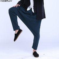 Pantalons Hommes Incerun Hommes Harem 2021 Casual Poches de style chinois Pantalons Drop Coton Solide Coton masculin rétro de la mode plus la taille