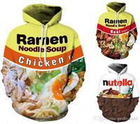남여 S-3XL 풀오버 탑 여성 / 남성라면 국수 치킨 수프 3D 인쇄 캐주얼 후드 티 운동복 겉옷