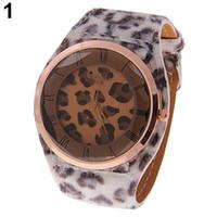 Крупногабаритные женские ремешки из искусственной кожи с подвесками с леопардовым принтом Кварцевые наручные часы No181 5v7o