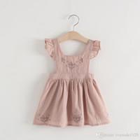 Bébé Filles Vêtements Robe Jolie robe volantée sans manches à encolure carrée et fleur avec une robe de tenue décontractée fille 100% coton