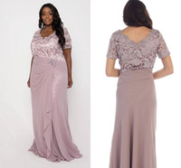 Dusty Pink Lace Appliqued Mantel Mutter der Braut Kleider Günstige Chiffon Lange Mutter Abendkleider Plus Size Eveninfg Prom Dresses