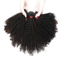 Afro Kinky Kıvırcık Saç Uzantıları 3 Demetleri Perulu Hint İşlenmemiş İnsan Saç Paketler Doğal Renk 8-28 inç