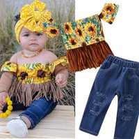 2- 7Y Cute Sunflowers Toddler Baby Girl Clothes Sets Off Shou...