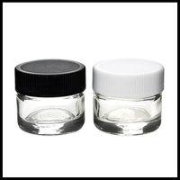 5ml verre de verre Premium Verre Cire de cire DAB JAR Conteneur à herbes sèche avec couvercle noir DHL GRATUIT