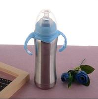8 oz de leche del bebé taza de la botella para sorber vaso de acero inoxidable Alimentación del recién nacido botellas de 240 ml recién nacidos Gran Volum Azul Rosa de Agua Standard Calibre