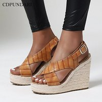 sandalias CDPUNDARI cuñas para las mujeres del tacón alto sandalias de plataforma señoras de la mujer zapatos de verano