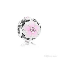 NEW Pink Enamel flowers Charm Jewelry accessories Logo Origi...