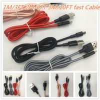 Плетеные USB-кабели Тип C V8 Micro 1M / 3FT 2M / 6FT 3M / 10FT Данные 2A Быстрое зарядное устройство Кабельное Шнур Weave Веревка для универсального телефона