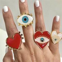 جديد قابل للتعديل الذهبية القلب الأحمر الشر العين خواتم أزياء نسائية أنثى الشعبية لطيف الشر T471 عين الحب قلب خاتم الذهب