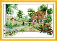 Cenário de verão pintura da decoração da casa, Handmade Cross Stitch Bordado conjuntos de costura contados impressão sobre tela DMC 14CT / 11CT