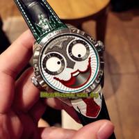 Versión mejorada Konstantin Chaykin Joker Creatividad única Verde Joker interno Dial NH35A Relojes automáticos para hombre Estuche de plata Correa de cuero
