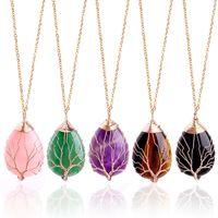 Encantos del árbol de la vida alambre colgantes del collar Wire Wrap curación natural cristal de piedra collares de cuarzo con oro eslabón de la cadena de joyería de las mujeres del regalo