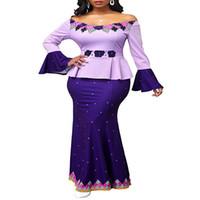 Африканские платья для женщин Dashiki Off-плечо Русалка Печать Bodycon Длинные африканское платье плюс размер Летняя винтажной одежды