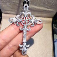 Marka 925 Gümüş elmas boyama tam Zarif saray Çapraz Kolye Kolye kadın erkek için Haç Charm Lüks büyük Takı