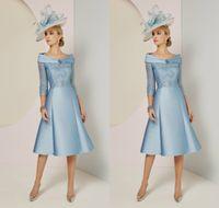 2019 elegante madre della sposa abiti off spalla 3/4 maniche lunghe abito da ballo ginocchio lunghezza abiti da sposa abiti da sposa a buon mercato blu chiaro
