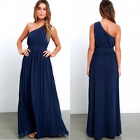 Vestidos de dama de honor de un hombro de la marina marina de un hombro de una marina de un hombro un vestido de noche de longitud de la línea de pliegues de pliegues por debajo de $ 70 BM0241