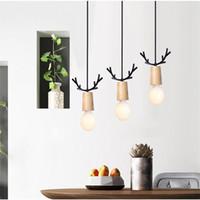 Nordic creativo restaurante Luces pendientes de Corea lindo Sala Infantil Elk Horn Comedor Habitación Sala LED de las lámparas de decoración del accesorio