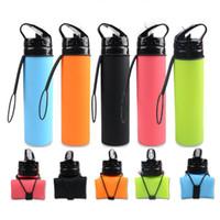 BPA livram a garrafa de água dobrável do silicone Produtos novos 600ml ostenta a garrafa de água dobrável dos esportes do silicone
