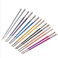 Hochwertige 304 Laser überzogene Farbe Titan überzogene Farbe Edelstahl Essstäbchen Haushalt Anti-Hot Hohl Essstäbchen DHL geben frei