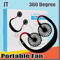 JT mini ventilatore freddo portatile ricaricabile tramite USB Fan Neckband pigro collo Hanging doppio raffreddamento mini ventilatore per la vita quotidiana con scatola al minuto