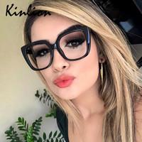 Kinlion Retro Mulheres Óculos Frame quadrado grandes óculos moldura para homens Pernas Transparente Primavera Leitura Óculos graduados