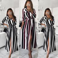 Streifen-Maxi-Kleid-Büro-Dame Turn-Down-Kragen-Knopf-Long Shirt-Kleid-Frauen Herbst-Sommer-lange Hülsen-Kleid