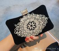 Новейшей ручной работа кристаллы Малого мешок плеча Bridal руки сумка венчание вечер партия Черного Красный Сумки Недорогое высокое качество