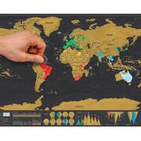 2019 1pcs Mappa del mondo Deluxe Erase nero gratta Mappa del mondo personalizzato Scratch di viaggio per i Map Room della decorazione della casa adesivi murali