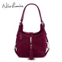 JIULINNew Arrival lady Real Suede Leather Handbag New Color ...