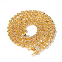 Майами кубинский Link ожерелье цепи 13мм Полный Bling Bling Iced Out Кристалл Стразы Серебро Золото Цвет Мода ювелирные изделия Мужчины ожерелье
