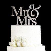Gros-paillettes GoldenSilver M. et Mme gâteau topper mariage décorations de mariage élégant décorations de gâteau de mariage cadeaux faveurs fournitures