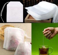 Hot New 100 Pçs / Pack Teebags 5.5 x 7cm Bolsas de chá perfumadas vazias com string cure papel filtro de selo para erva solta chá bolsas wcw220