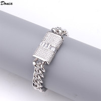 Donia jewelry European and American hip hop chain with zircon 10 mm Bracelet Wedding Jewelry men's banquet set decoration gift