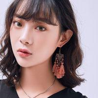 Triangolo design Bohe colorate perline nappa orecchini per le donne
