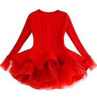 어린이 두꺼운 따뜻한 여자가 드레스 크리스마스 웨딩 파티 드레스 니트 쉬폰 겨울 아이 소녀 용 의류 어린이 의류 소녀 드레스 T200107