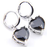 ad8d7765bdb9 10 Prs Luckyshine Fashion Shine Heart Fire Black Onyx Cubic Zirconia Piedras  preciosas de plata cuelgan los pendientes para la fiesta de bodas