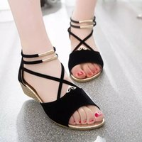 Women Solid Sandals Round Toe Buckle Design Roman Sandals Wo...